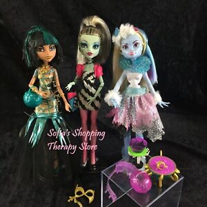 MONSTER-HIGH-DOLLS-Ghouls-Rule-Cleo-Abbey-Dawn-of-the-Dance-Frankie-3-Pack-Lot