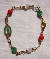 Virgen Guadalupe Mexican Flag Beads And Medal Bracelet - Gold Plated 7 1/2 Inch