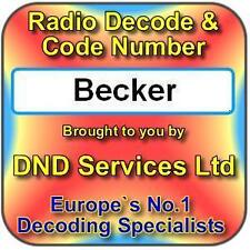 Becker Radio Code Decode Unlock by Serial Number