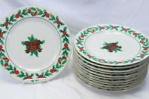 Gibson-Xmas-Greeting-Holly-Dinner-Plates-10-75-034-Lot-of-12
