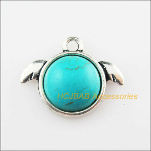 6 NEW Angel Wings Charms Turquoise Tibetan Silver Pendentifs Rétro 18x22mm