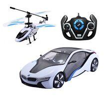 1:14 Rastar Speed Twins BMW i8 Car & Helicopter Combo Radio Remote Control Car