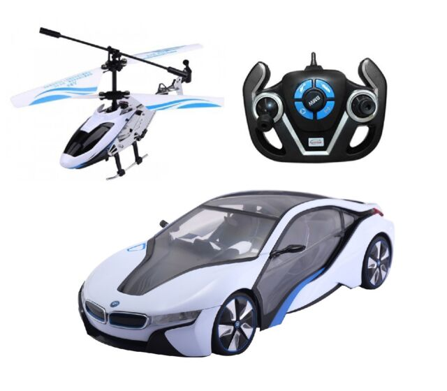 1 14 Rastar Speed Twins Bmw I8 Car Helicopter Radio Remote Control