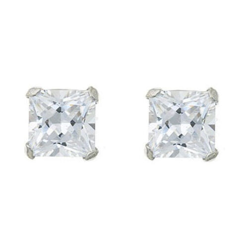 Sterling Silver CZ Studs 5mm square Earrings Gift boxed Made in UK