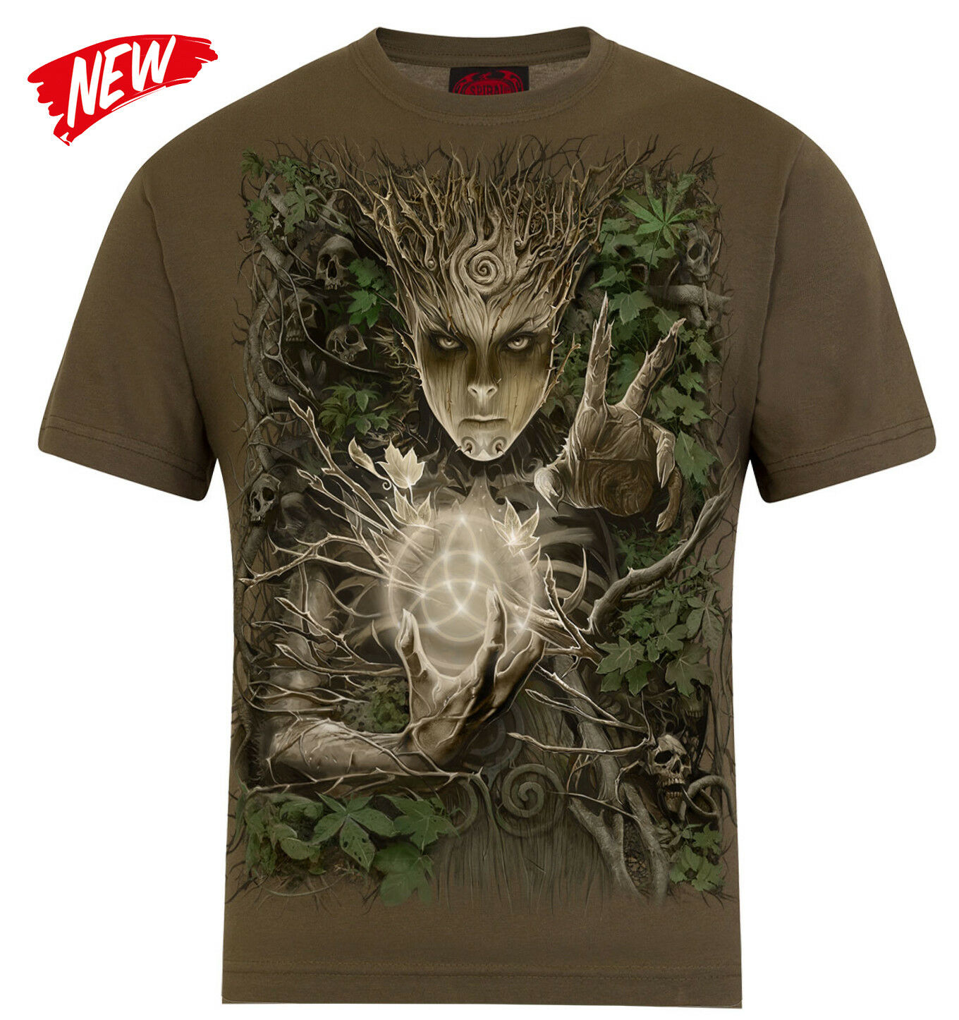 SPIRAL DIRECT OAK PRINCESS T Shirt Green Man Magic Fantasy Tribal Tattoo Top Tee