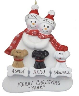 Personalized Snowman Family of 5 with 4 Dogs or Cats Christmas Ornament