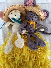Vintage Crochet Handmade Toilet Paper Cover Holder Farmer Haystack Mouse Amigos