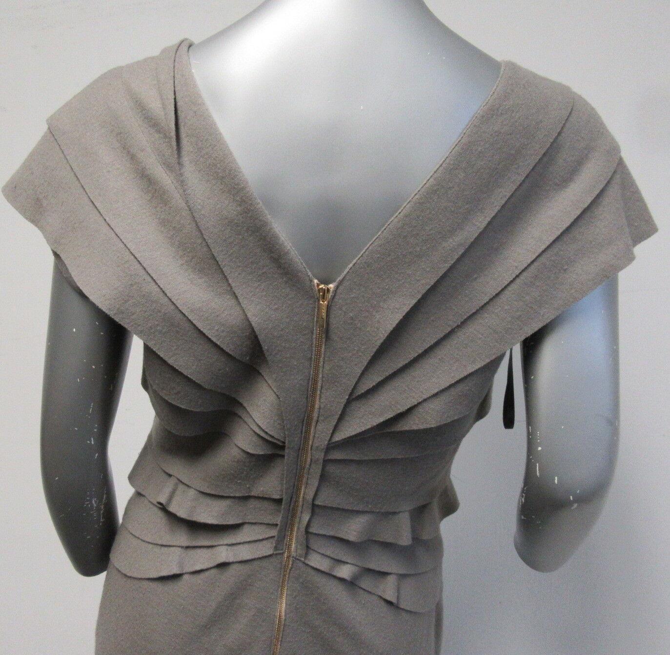 FENDI Light Grey Fleece Deep V Pleated And And And Ruffled Cap Sleeve Dress SZ 42 8 220392