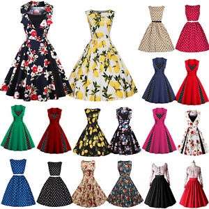 50S-60S-ROCKABILLY-DRESS-Vintage-Style-Swing-Pinup-Housewife-Prom-Party-Dance-UK