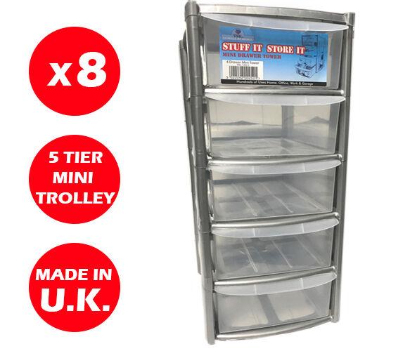 comodamente 8 X 5 CASSETTI argentoO TORRETTA-CASSETTI in plastica-ORGANIZER plastica-ORGANIZER plastica-ORGANIZER STORAGE-Mini   SMALL  economico