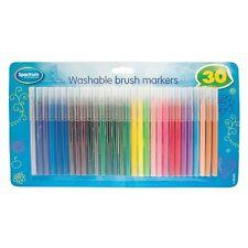 30 x Washable Brush Markers Painiting Drawing Kids Felt Pens Art Craft UK