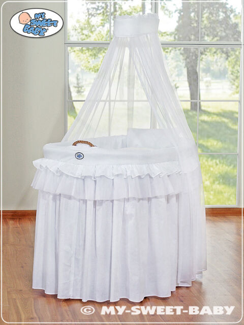 My Sweet Baby - Royal Veil Wicker Crib Moses Basket - White