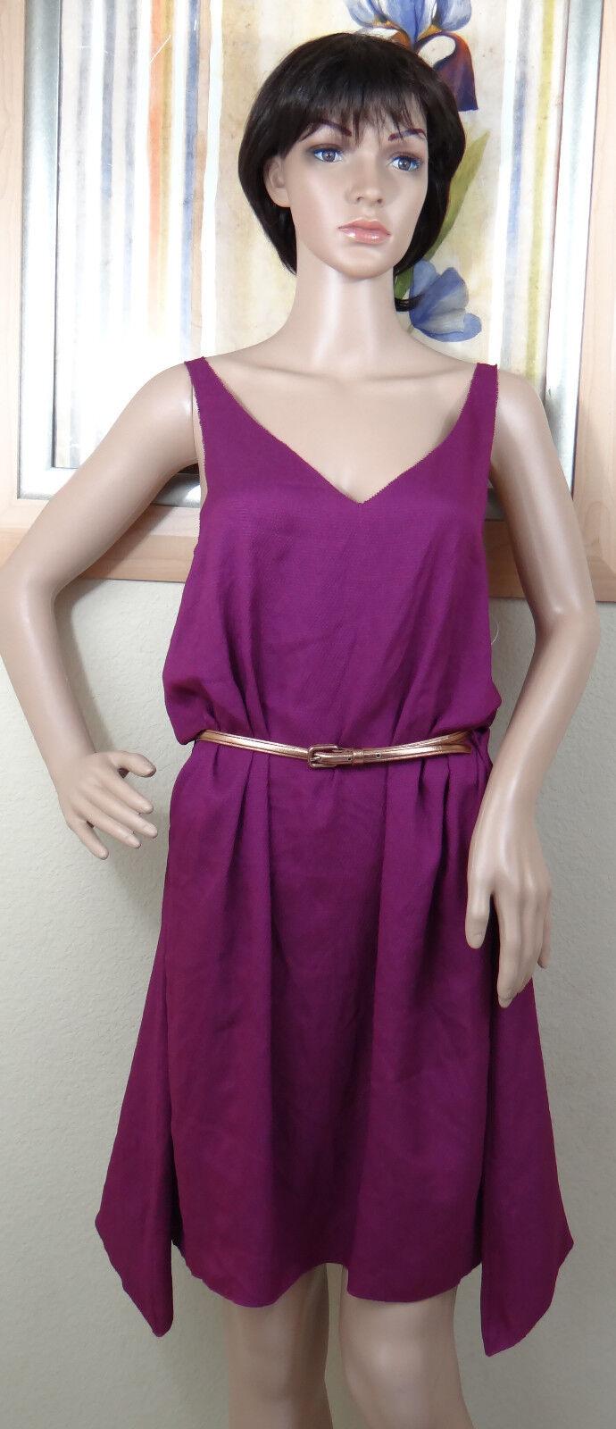 NEW RACHEL ROY purple unlined sleeveless asymmetrical hem belt dress, Size M