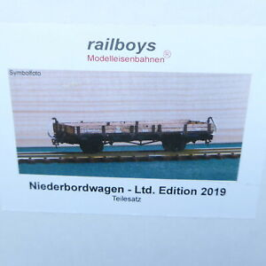 Railboys H0e Kit Niederbord-Güterwagen from Wood+Brass Tray 30 Piece
