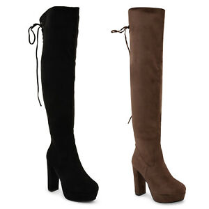 WOMENS-LADIES-THIGH-HIGH-BOOTS-OVER-THE-KNEE-PARTY-WEDGE-BLOCK-MID-HEEL-SIZE