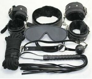 7pcs-Bondage-Kit-Leather-Whip-Gag-Blindfold-Cuffs-Collar-Sexy-Toy-Rope-Role-Play