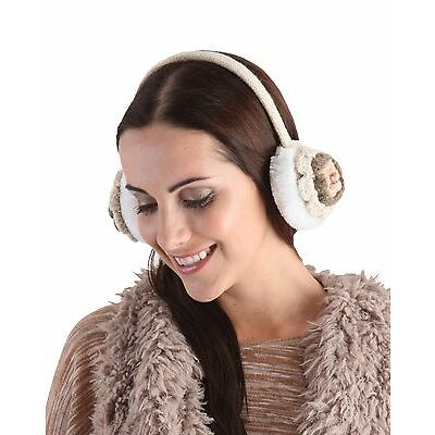 RJM Ladies Knitted Ear Muffs With Faux Fur & Crochet Flowers