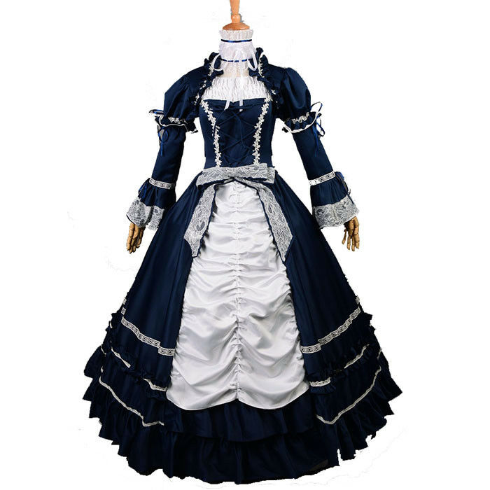 Deluxe Women Renaissance Victorian Dark bluee Dress Ball Gown Dance Party Costume