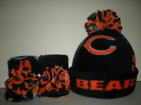 BEARS BABY HAT HANDMADE newborn BEANIE & BOOTIES  FLEECE SET NFL CHICAGO