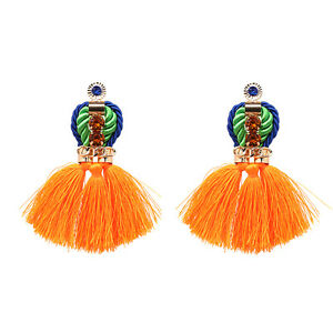 Image Is Loading Zara Bright Orange Tel Statement Drop Stud Earrings