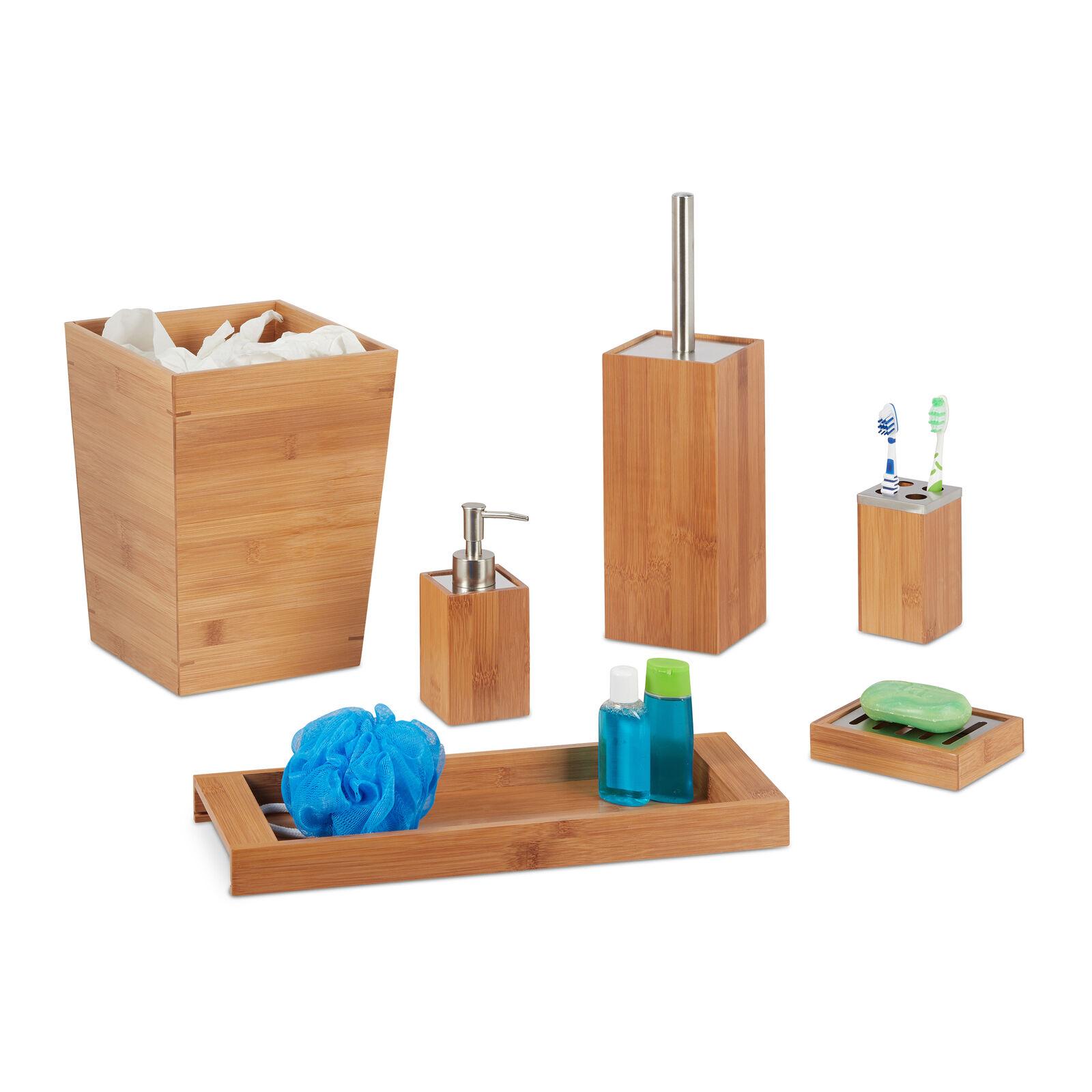 Set salle de bain bambou 6 pièces, Kit sdb, garniture WC, porte brosses à dents