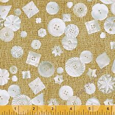 Letter Stitch LETTER STITCH POLKA Buttons Green by Quilting Treasures 100/% cotton Fabric by the yard 36x 44 Buttons Fabric QT207