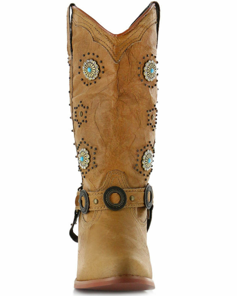 Dingo Women's Addie Concho Harness Boots - Round Toe western cowboy ladies boots