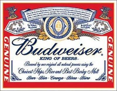 NEW Budweiser King of Beers Metal Sign 12X17