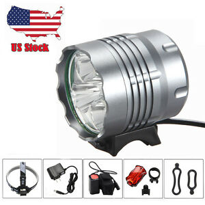Rechargeable 10000Lm 5 x  XML T6 LED Bike Bicycle Light Headlamp Torch USA