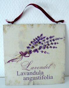 Schoenes-Schild-Blechschild-Lavendel-Vintage-Stil-creme-lila