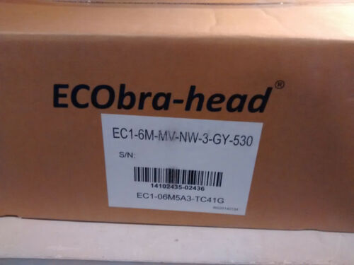 2 New in box Ecobra-Head LED Street Lights 6 LED 120-277V 4000K 530mA Gray 41W