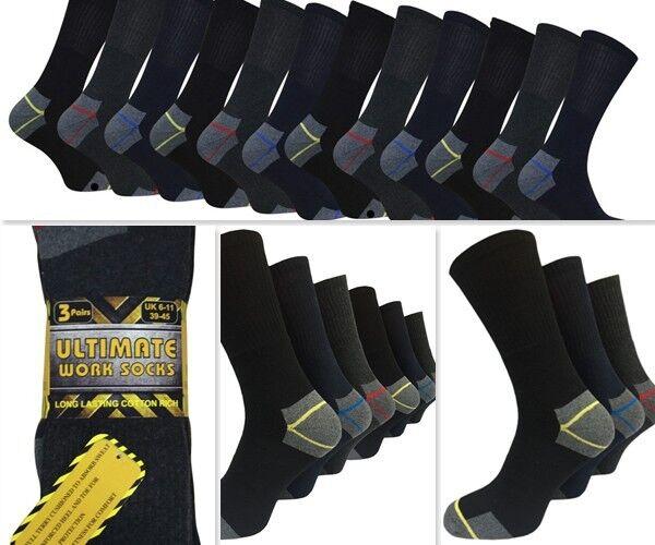 6 Pairs of Men/'s Heavy Duty Work Socks Safety Steel Toe Thermal Boot Work Sock