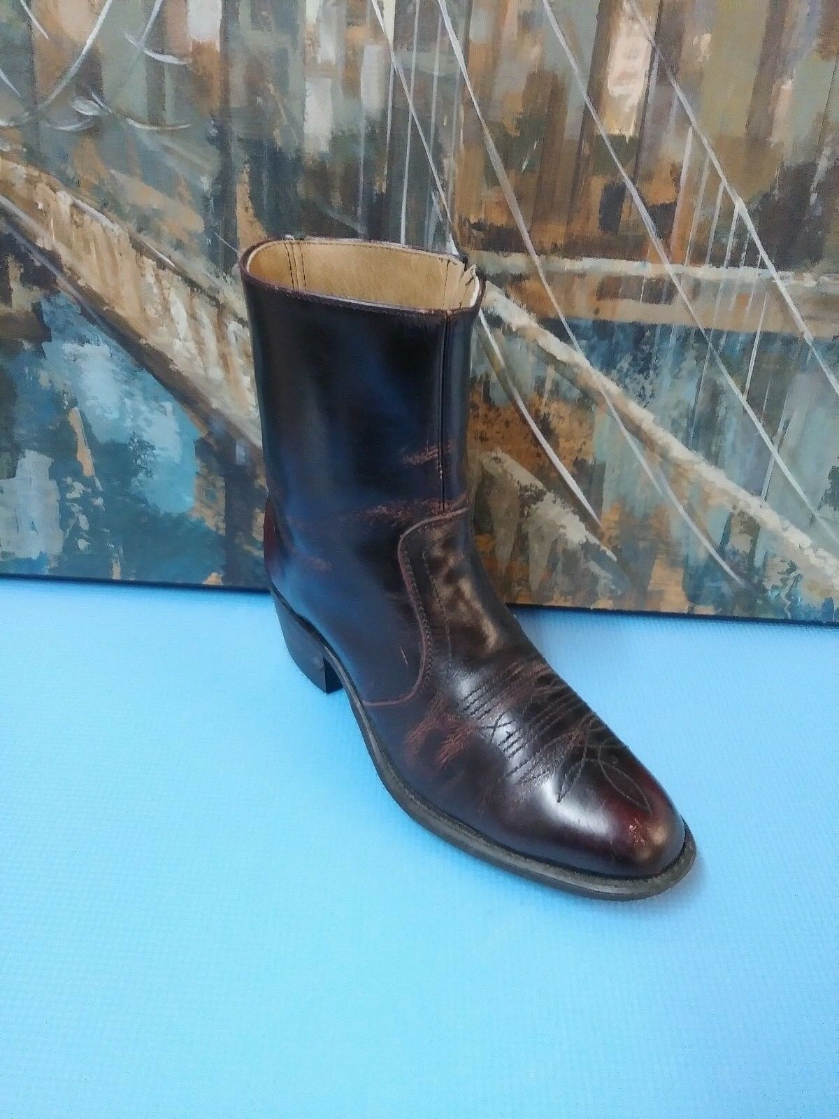 UKW Leather Ankle Boots D Brown Women's Size 7.5 D Boots US Side Zip 115b30