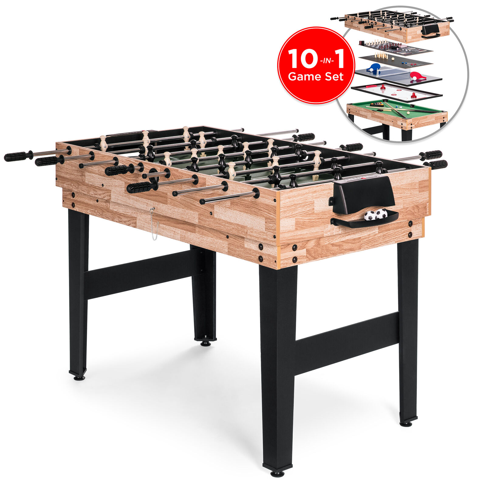 BCP 2x4ft 10-in-1 Combo Game Table Set w  Billiards, Foosball, Ping Pong, & More