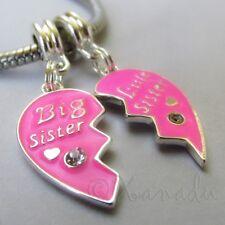 Big Sister Little Sister Pink Heart Halves For Large Hole European Bracelets