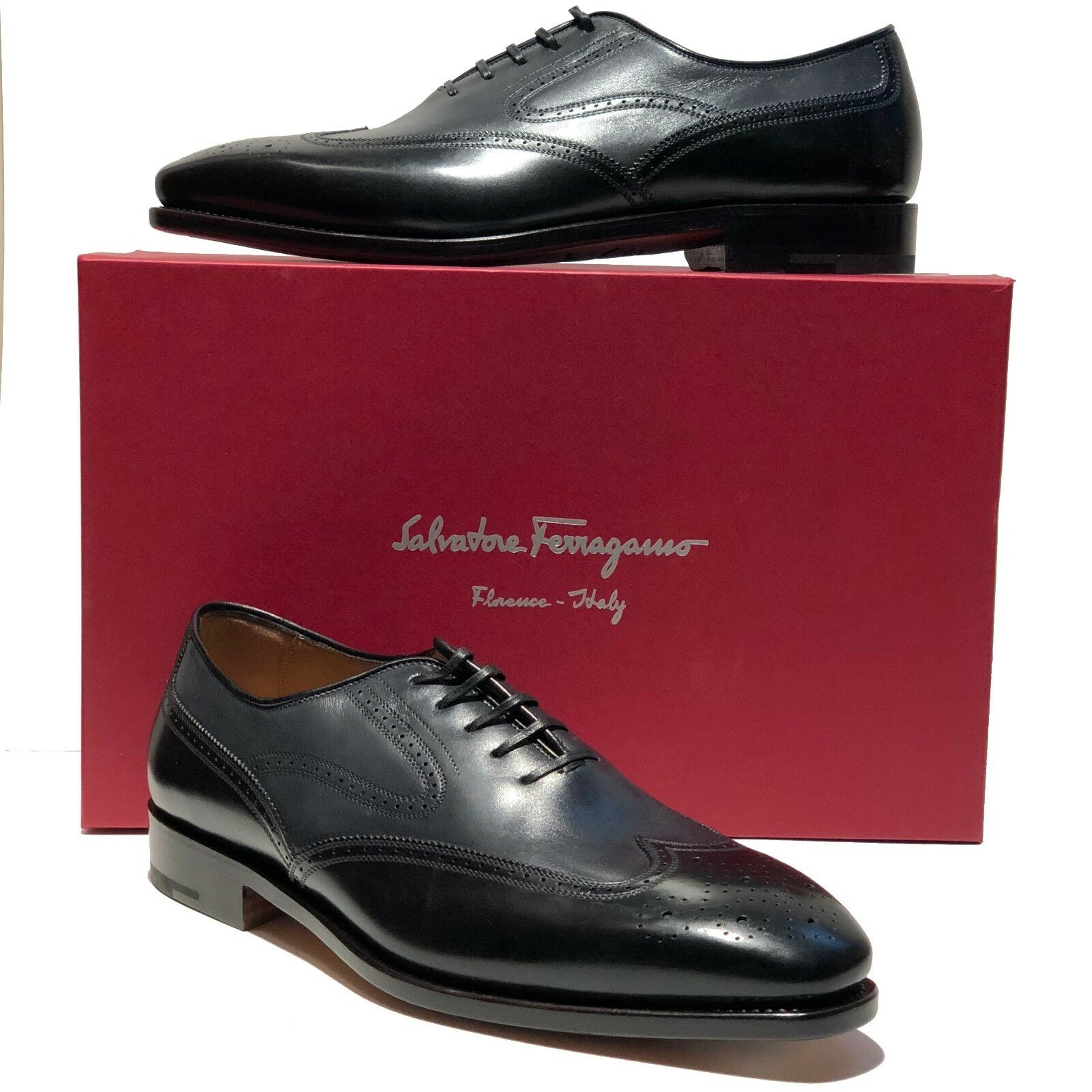 Ferragamo TRAMEZZA Fermin Men's 8.5 E Black Dress Wingtip Brogue Leather Oxford