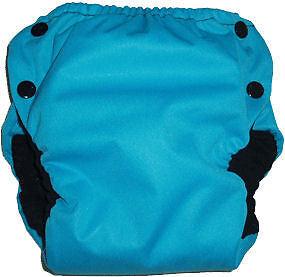 PUL Pocket Diaper in Dark Teal w//Light Blue Microfleece GAD Green Acre Designs