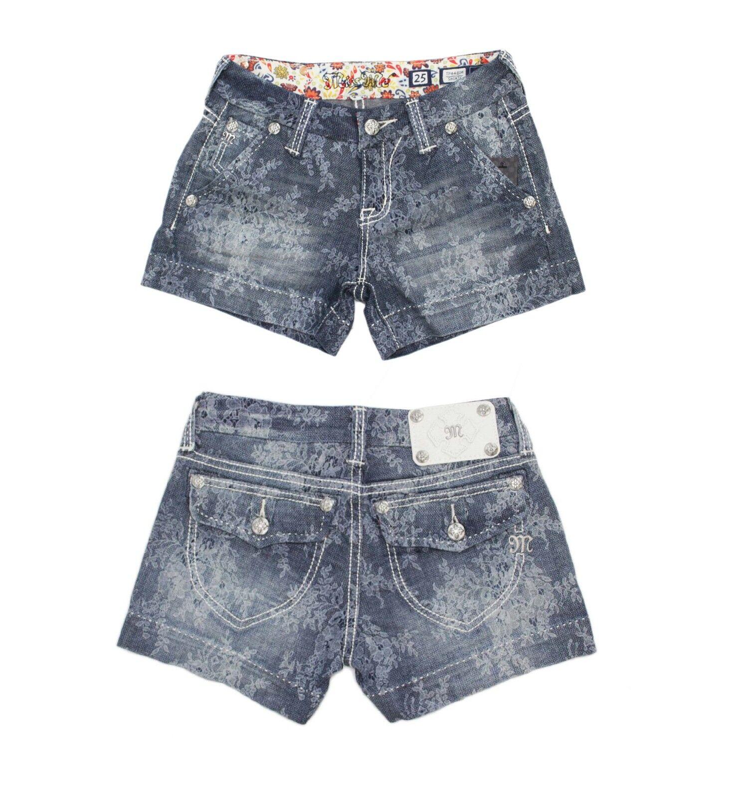MISS ME Women's Floral Lace Print Indigo Summer Denim Shorts Jeans