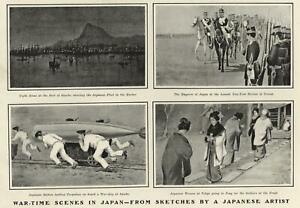 Japanese-Sketches-War-Time-Japanese-Artist-Japanese-Fleet-1904-old-print
