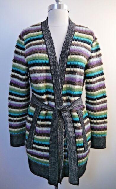 6e97f89e4e MISSONI M multicolored knit belted cardigan sweater Italian size 44