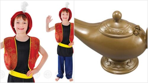 BOYS KIDS ALADDIN PANTO GENIE FANCY DRESS ARABIAN 4-15 YEARS LAMP OPTIONAL