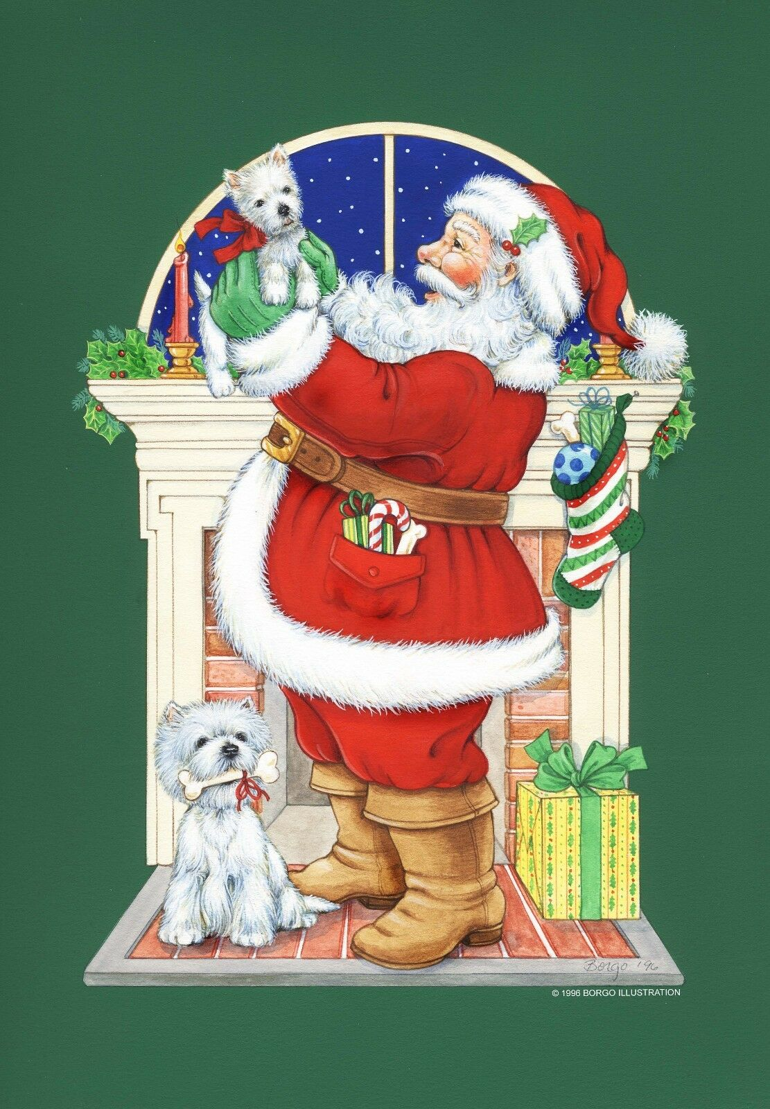 Westie Christmas Cards Santa S Surprise by Borgo | eBay