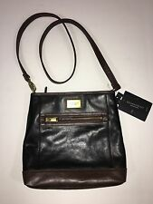 $150 Tignanello NWT Black Brown Leather Crossbody Function Frenzy Purse Bag RFID
