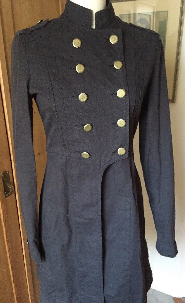 Paula Cahen d'Anvers d'Anvers d'Anvers Military Tales Coat Double Breasted Canvas Charcoal XS 2 89f80b