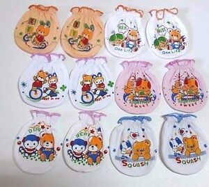 US 6-12 Pairs Baby Infant Anti-scratch Cotton Mittens Gloves Handguard 0-6 Month