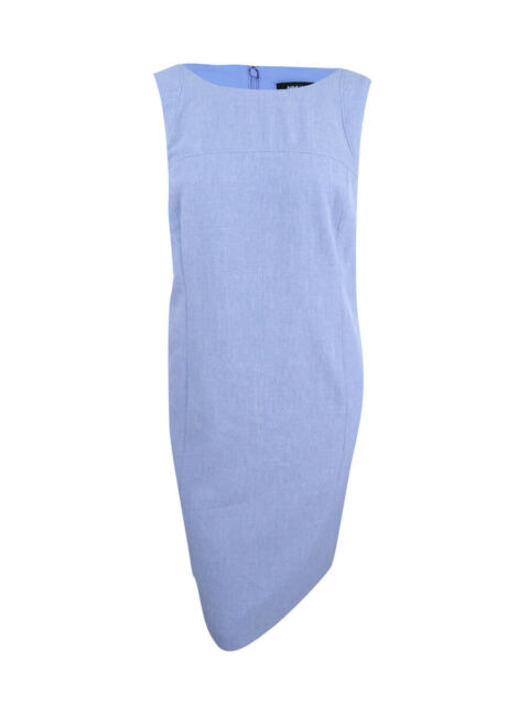 d09416db93 Nine West Womens Blue Crosshatch Seamed Wear to Work Dress Plus 22w BHFO  4770 for sale online
