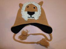 Lion Cub Winter Hat *Small/One Size Fits Most* Tassels Kids Large Knit Ski Cap