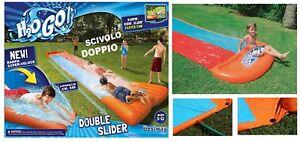 Scivolo-gonfiabile-doppio-gioco-ad-acqua-rampa-lancio-esterno-giardino-Bestway