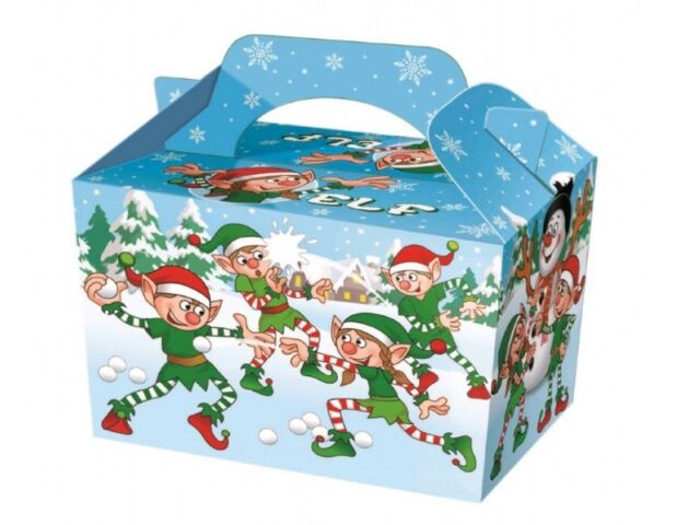 8 ~ Christmas ELF CARTOON Party Food Boxes ~ Childrens Xmas Meal Bag Plate Box
