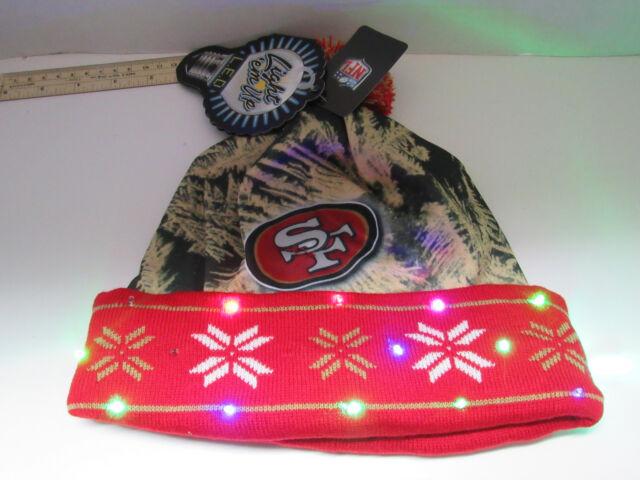 f5decea9c58fbd San Francisco 49ers NFL LED Light Up Hat Winter Pom Beanie Stocking Knit Cap